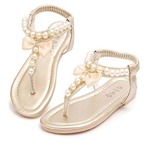 Oferta: 6.55€. Comprar Ofertas de Sandalias Zapatos de Verano Elegante Encantadora Linda Perla Rebordea Nudo Peep Toe de Color Oro para Chicas Niñas - 27 barato. ¡Mira las ofertas!