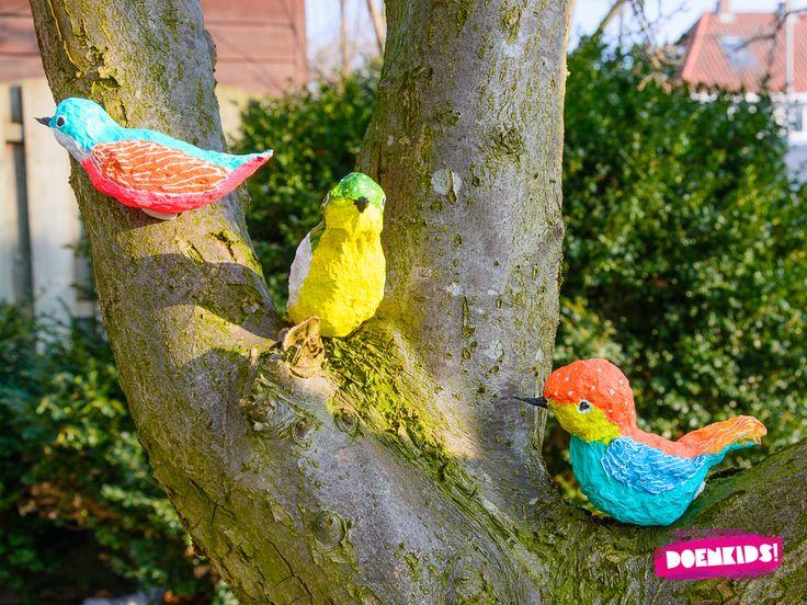 Vogeltjes kijken is het allerleukst en gaat ook het beste buiten in de natuur. Deze vrolijke vogels zul je daar alleen niet zo gauw tegenkomen. Ze zijn gemaakt van papier maché en het maken ervan is meer een binnenactiviteit. Voor als de buitenlucht nog iets té fris is bijvoorbeeld!