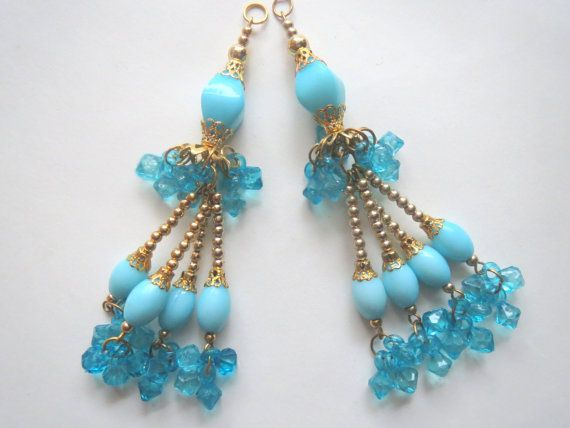Blue and  Golden Glass Bead Traditional Tassel/ by CraftyJaipur