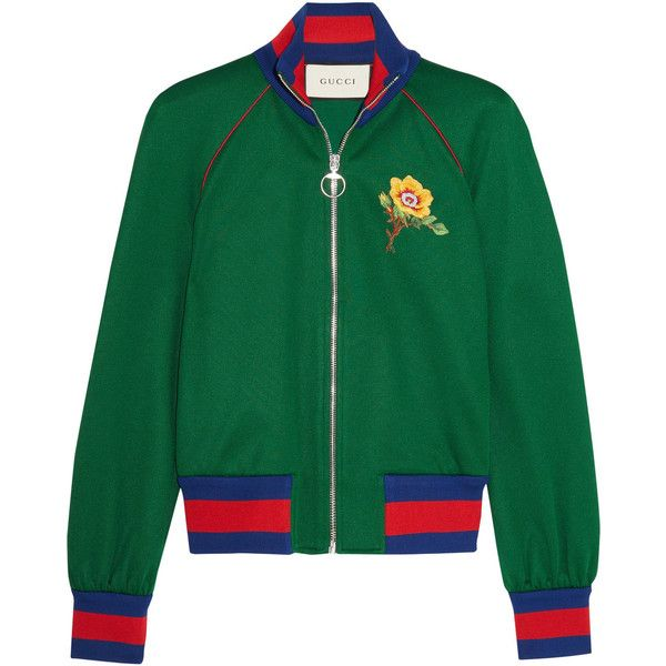 Gucci Appliquéd satin-jersey bomber jacket (5.242.620 COP) ❤ liked on Polyvore featuring outerwear, jackets, gucci, tops, blouson jacket, green flight jacket, green zip jacket and zip jacket