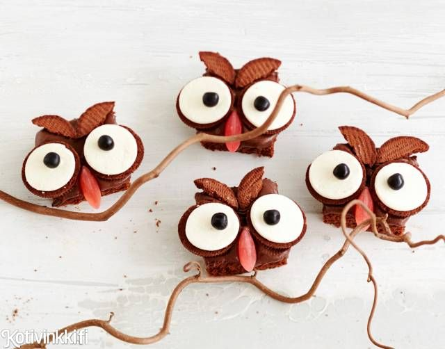 Pöllömokkapalat lastenjuhliin. / Owl brownies #synttärit #lastenjuhlat #kidsparty #birthday #childrensparty #brownies