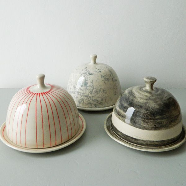 Butter dishes, plates. Handmade, pottery, ceramics, kitchen, dishware, saucer, stripes, patterns, designs.                                                                                                                                                      More