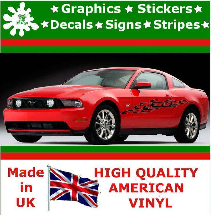 "10"" High Car Side Stripes Graphic Decal Vinyl Sticker Van Auto Rally Race F1_103"