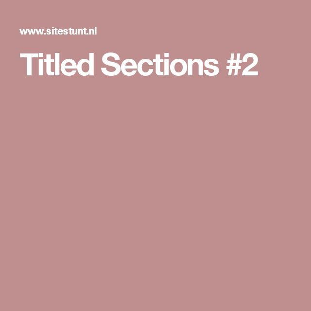 Titled Sections #2