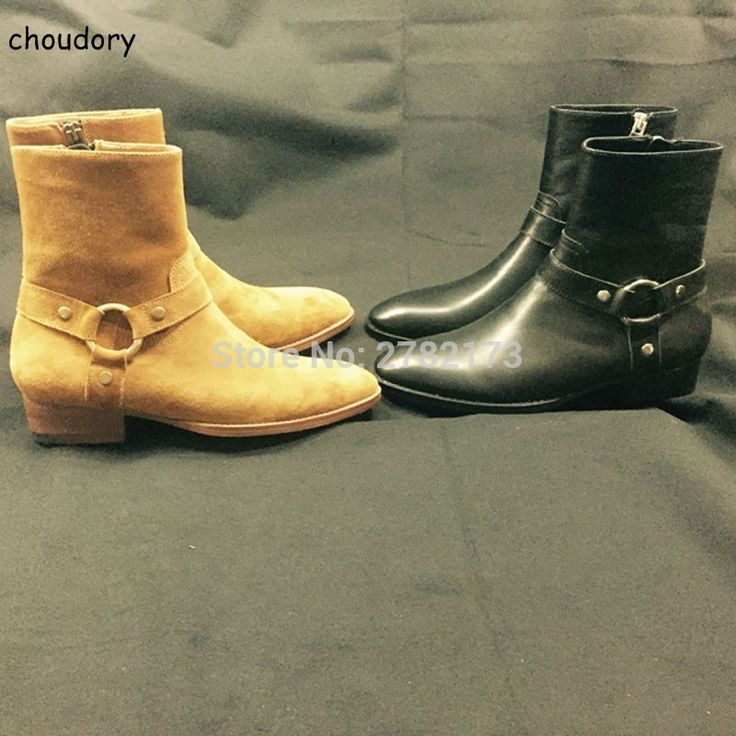 Handmade Chelsea Boots Round Toe High Men's Leather Boots Shoes Fashion Men Zipper Boots Suede Leather Top Quality Shoes  #Affiliate
