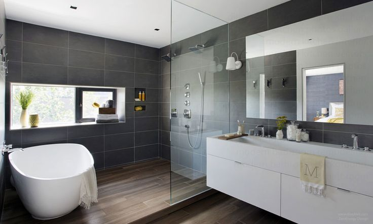 minimalistisches Bad mit Betonwänden und rundem Fenster