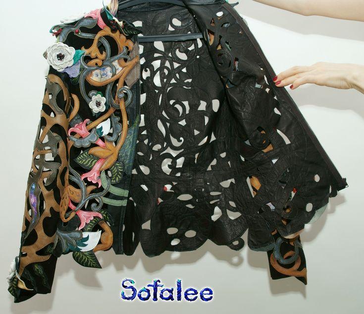 цветочная куртка из кожи с перфорацией 67