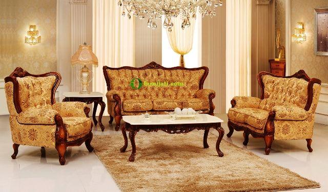 Gambar meja kursi kayu jati ruang tamu