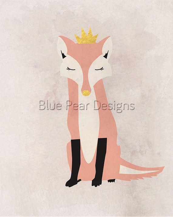 Pink Fox Printable Fox Art Printable Fox by WhitespaceAndDaisy