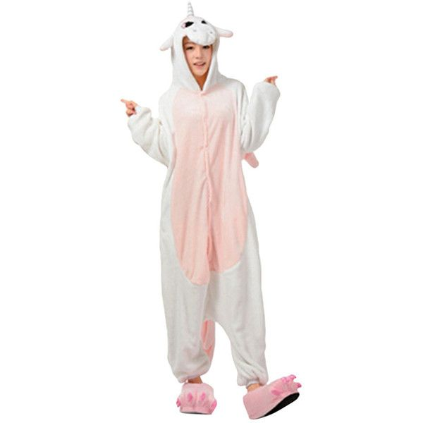 Womens Hooded Onesies Unicorn Pajamas Animal Costume Pink (247.750 IDR) ❤ liked on Polyvore featuring pink