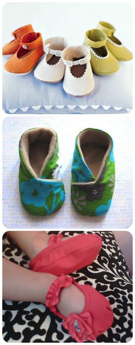How to Baby Shoes. Moms is making these right now. A GREAT tutorial. {This is a link to 60 DIY baby shower gifts. It's a great link}