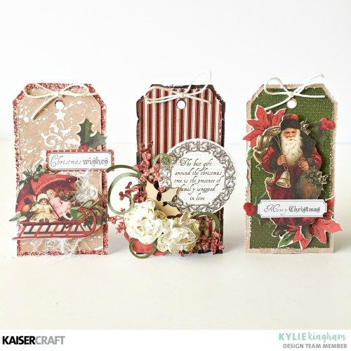 Kaisercraft 'Holly Jolly' Christmas Gift Tags by Kylie Kingham DT for Kaisercraft Official Blog using their Sept 17 - 'Letters to Santa' collection. Learn more at kaisercraft.com.au - Wendy Schultz - Kaisercraft Layouts.