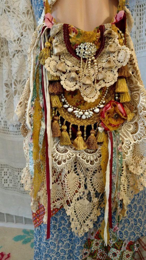 Handmade Fabric Vintage Lace Crochet Shoulder Bag Fringe Hippie Purse tmyers #Handmade #ShoulderBag