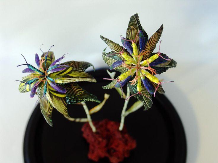 Erupting Flowers, DIA19,5 x H42 cm, in glassdome, 2016. by Iben Toft Nørgård