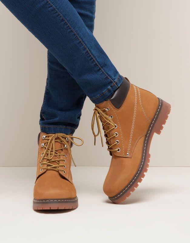 Pull&Bear - mujer - zapatos mujer - botín montaña - camel - 15185011-I2015