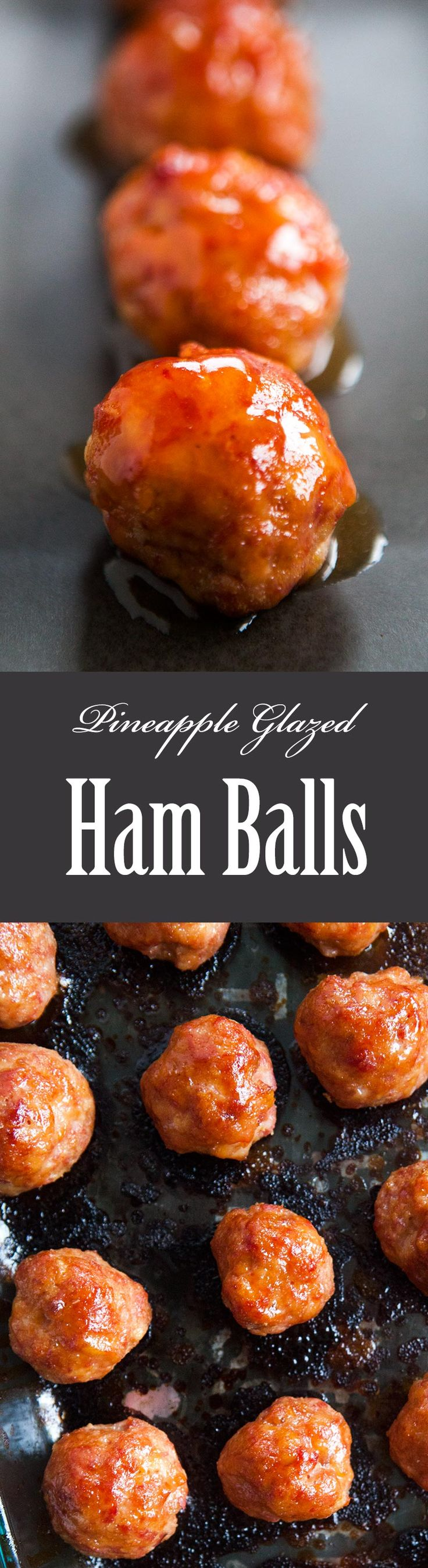 Ham balls! Made from ham, bacon and ground pork, and a pineapple juice glaze. Perfect appetizer for a holiday or game day crowd! On SimplyRecipes.com