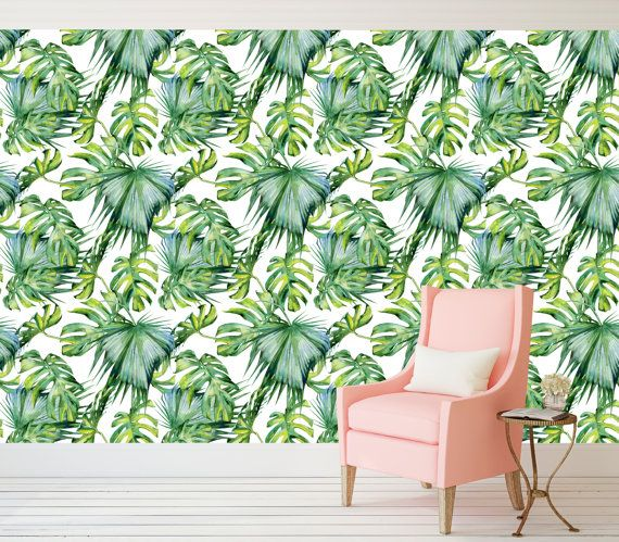 Palm Trees Pattern Peel and Stick Wallpaper by theWALLSCAPEcompany