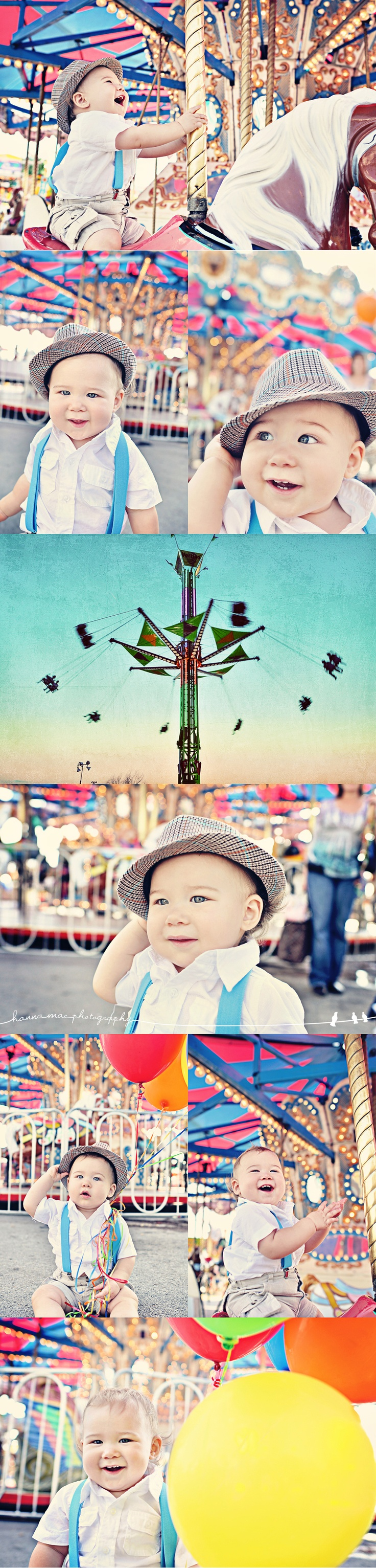 Super colorful, cute, and fun baby photo amazing session idea at the carnival. {Family / Child / Baby Photography}