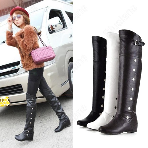 Discount China china wholesale Womens Riding Boots Knee High Fashion Inner  Heels Buckle Faux Leather  c6c086fcd1
