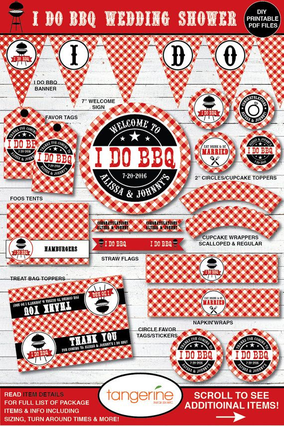 I Do BBQ Couples Shower Decorations  I Do BBQ Rehearsal Dinner by TangerinePaperShoppe on Etsy
