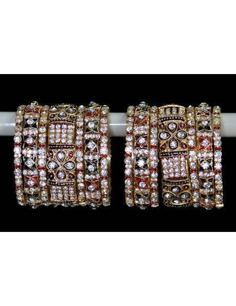 Astonishing Mina Work & Diamantes Bangles http://www.bharatplaza.com/jewellery/bangles.html