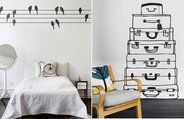 birds on power lines | suitcase stack wallpaper