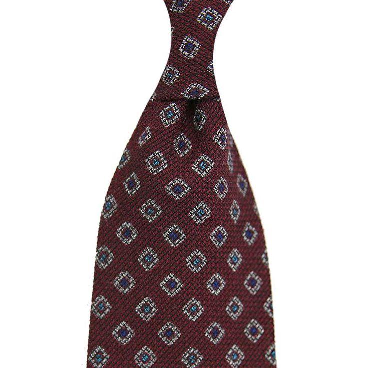 Geometrical Printed Grenadine Tie - Wool / Cashmere / Silk - Burgundy