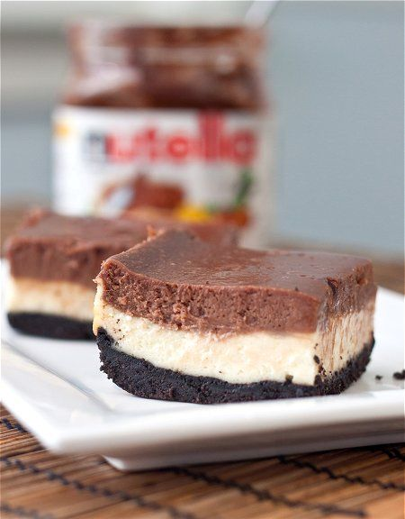 Nutella Cheesecake Bars [Tide and Thyme] //...and they have an Oreo crust too. !!!