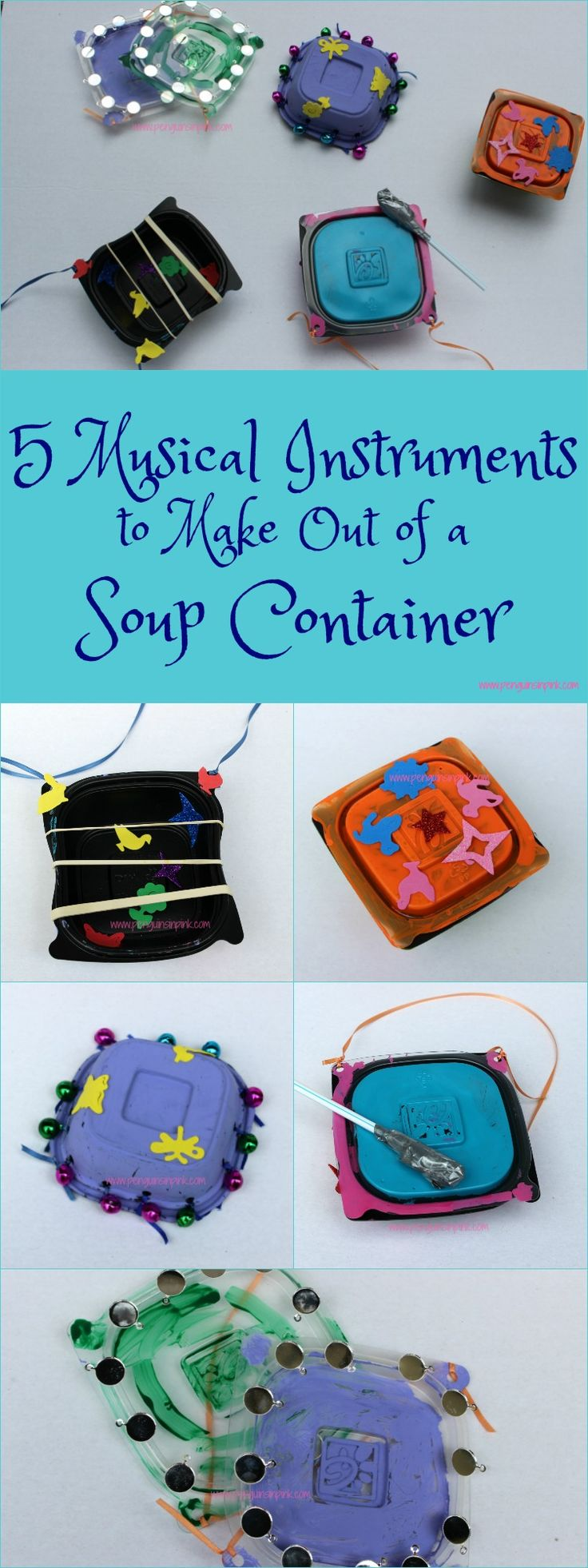 5 Musical Instruments to Make Out of a Soup Container - With a few household staples your kids can transform a Chick-fil-A soup container into one of five fun musical instruments. #ChickfilAMomsDIY