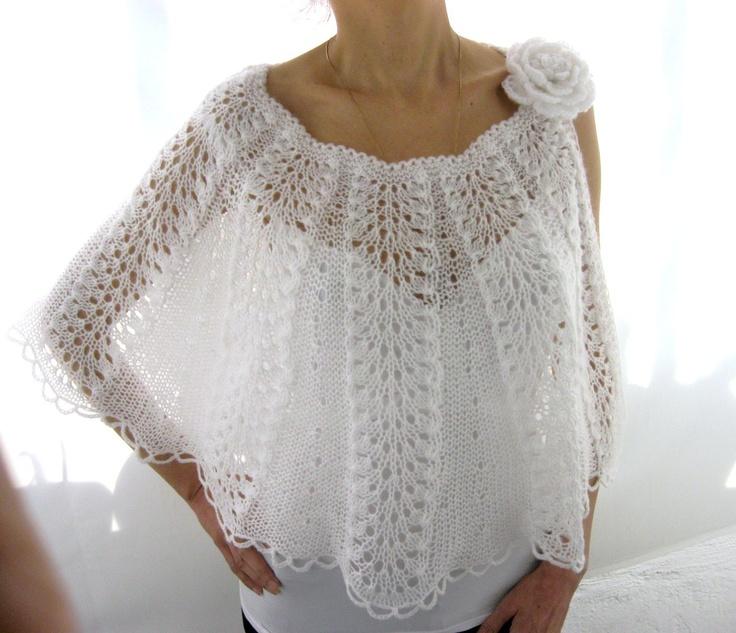 Elegant Hand Knitted  Lace  Bolero, Capelet  in  White. $99.00, via Etsy.