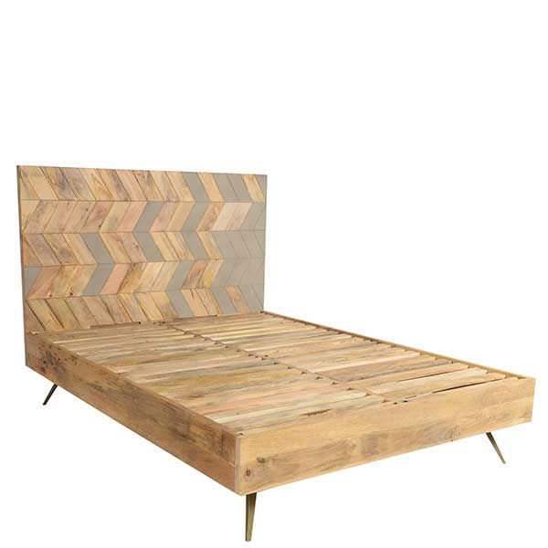 Leif King Size Bed Mango Wood Brass Barker Stonehouse