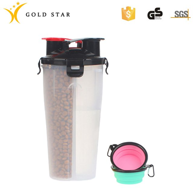 Plastic Portable Folding Pet Food Water Cup With Bowl
