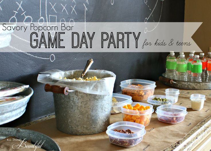 Savory popcorn bar snackfest teen game day party for Food bar game