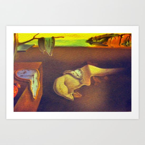 The Persistence of Memory is a 1931 painting by artist Salvador Dalí, and is one of his most recognizable works. Dali, a leading surrealist was born in Spain in 1904 & died in 1989.  Painting, Photography Reproduction, Surrealism, Modern Art, Historical, Controversial.