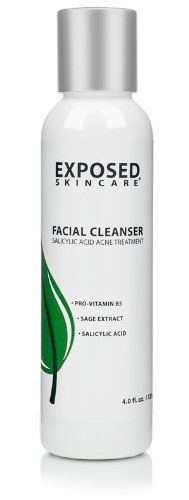 Acne Facial Cleanser by Exposed Skin Care, Salicylic Acid .5% for Teens and 4