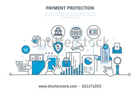 Protection, guarantee payment security, finance, cash deposits, purchases and money transfers, analysis of finance. Illustration thin line design of vector doodles, infographics elements.