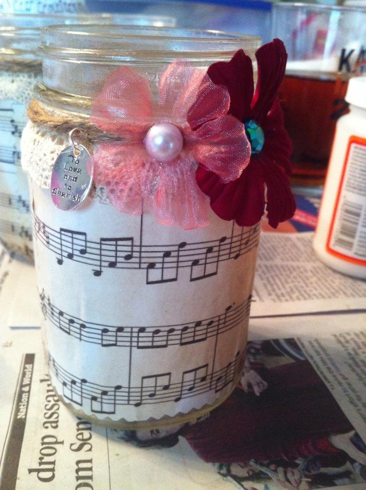 I made Vintage music sheet mason jars