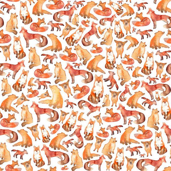 Fox Fabric Fat quarter Fabric Material by ElenaIllustration
