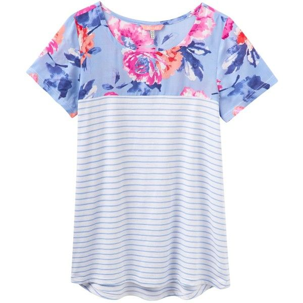 Joules Suzy Jersey T-Shirt, Haze Blue Stripe ($43) ❤ liked on Polyvore featuring tops, t-shirts, floral print t shirt, floral print top, floral t shirt, summer t shirts and jersey t shirts