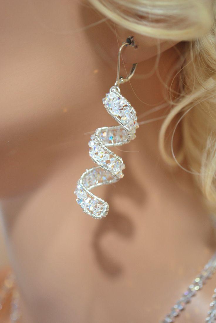 Swarovski Crystal Wire Wrap Spiral Dangle Earrings. $139