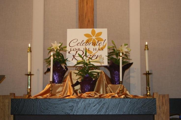 Easter 2008 altar | Altarscapes & More | Altar, Worship ...