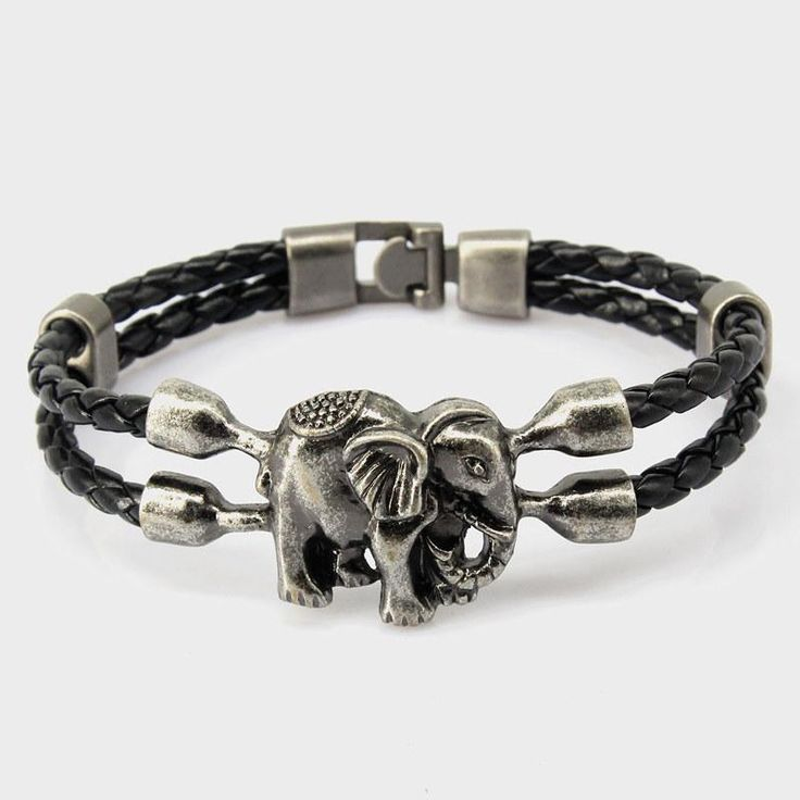 Vintage Woven Leather Elephant Bracelet