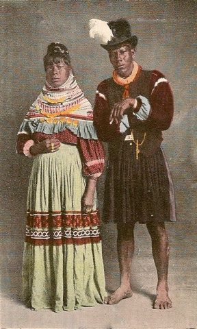 Seminole Indian bride and groom in traditional wedding garb.  (www.WeddingSpinster.com)  Nice article about a tradtional Seminole wedding.