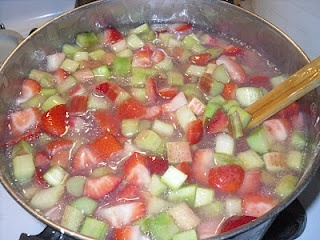 Canning - Strawberry Rhubarb pie filling. Recipe that Mom and I just used with strawberries from Mary Jane's Farm and rhubarb from the garden. Recipe turned out great but used 7 cups of water instead of 9.5.