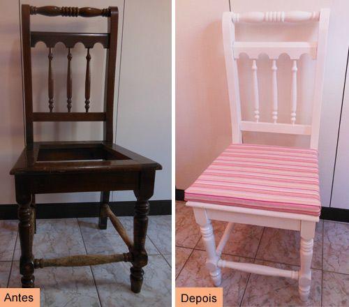 Antes e depois de uma cadeira restaurada:  http://customizando.net/como-restaurar-e-customizar-cadeira/