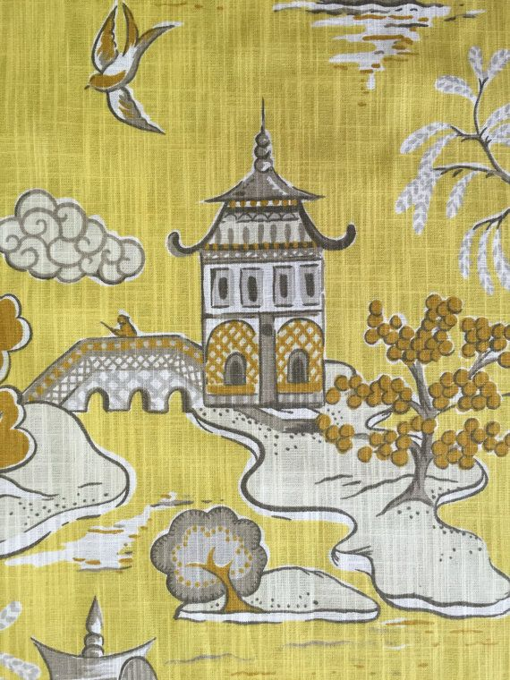 Asian Toile - Chinoiserie - Pagoda Fabric - Wang Chung Lemon - Lemon Drop - Asian Pillows - Asian Window Treatments  Details: Width: 55 Vertical: 26 Horizontal: 27 Care: Dry Clean Only  Usage: -Medium-weight Upholstery: Sofas, Indoor Benches, Ottomans, Footstools, Headboards, Window seat cushions, Kitchen Chairs, Dining Room Chairs, Accent Chairs, Pillows, etc. -Drapery: Curtain Panels, Shower Curtains, Valances, etc. -Bedding: Duvet Covers, Shams, Pillows, etc.  Please email us about…