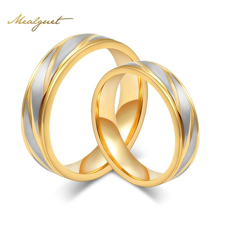 Meaeguet Fashion Men Wedding Rings Gold Plated Rings Stainless Steel Couple Wedding Rings For Men Women Engagement Rings