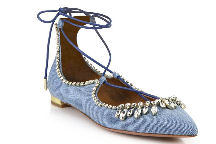 Aquazzura Christy Crystal & Denim Lace-Up Flats