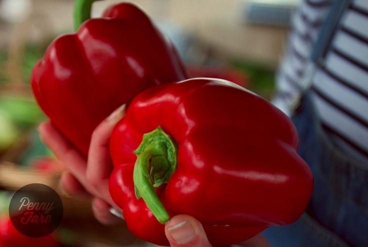 Organic market vegies: red capsicum