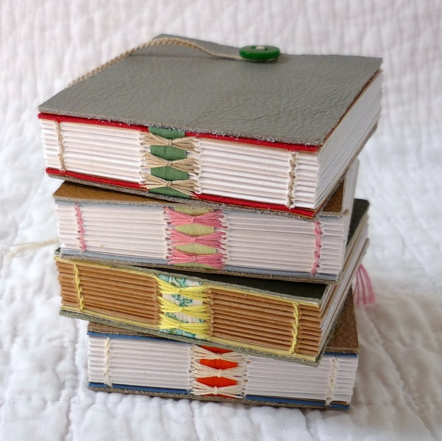 "Mini ""Shoe Leather"" hand bound recycled notebooks Designed by Kate Bowles"